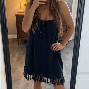 Black Volcom Fringe Beach CoverUp Dress